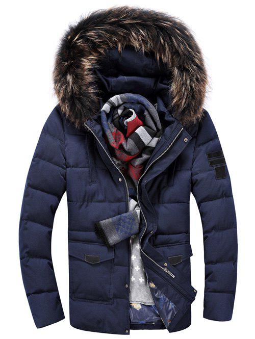 Faux Fur Hooded Pocket Front Zippered Padded Jacket pocket zippered snap front hooded padded coat