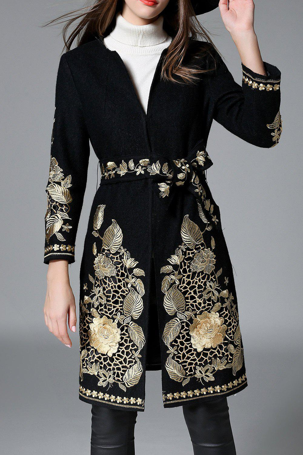 Floral Embroidered Belted Coat - BLACK M