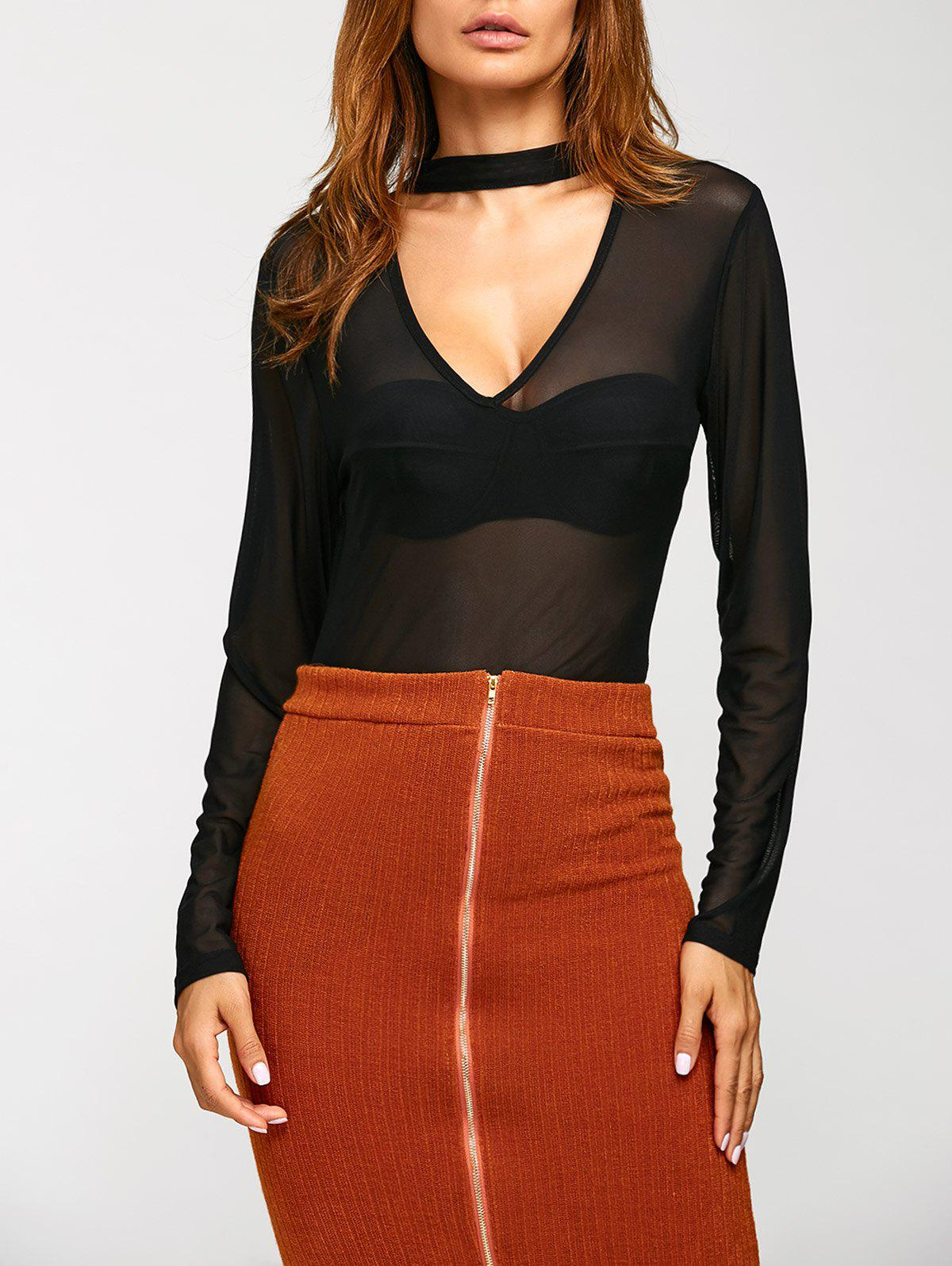 See-Through Long Sleeve Mesh Blouse цена