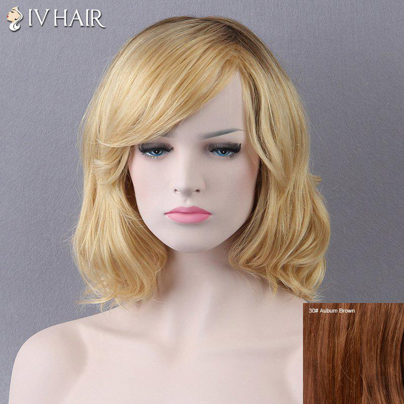 Short Slightly Curled Side Bang Siv Human Hair Wig - AUBURN BROWN 3