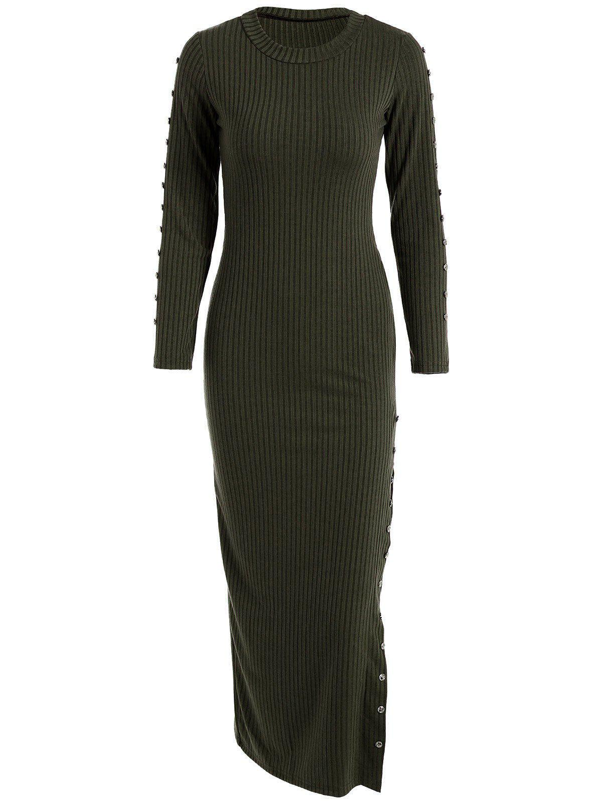 Slit Ribbed Maxi Long Sleeve Winter Sweater Dress - BLACKISH GREEN XL