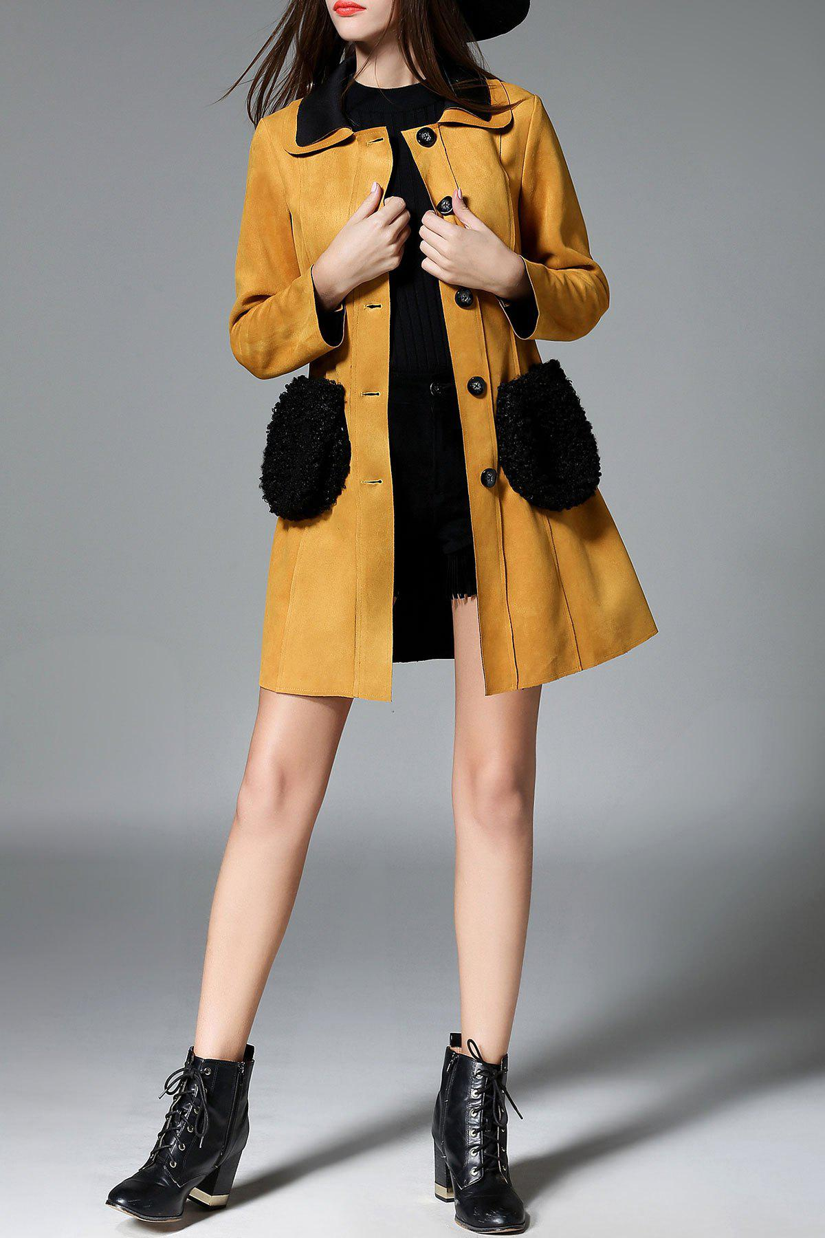 Single Breasted Faux Fur Pocket Suede Coat - EARTHY S