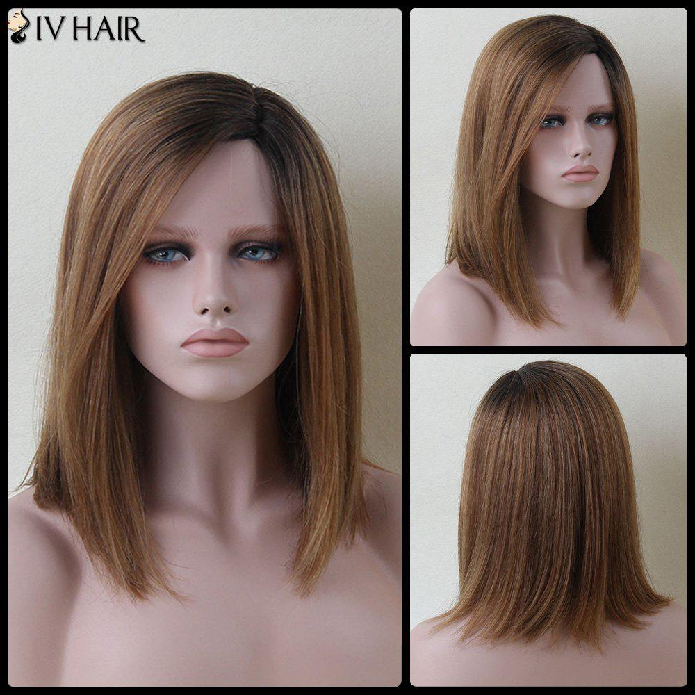 Medium Mixed Color Side Parting Straight Siv Human Hair Wig - COLORMIX