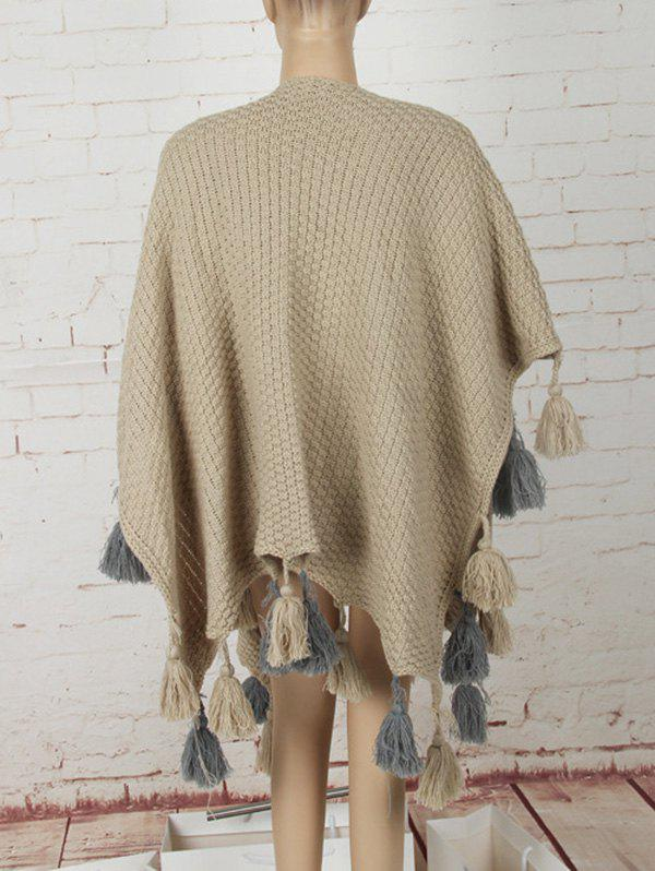 Asymmetric Tassels Sweater Cape - KHAKI ONE SIZE