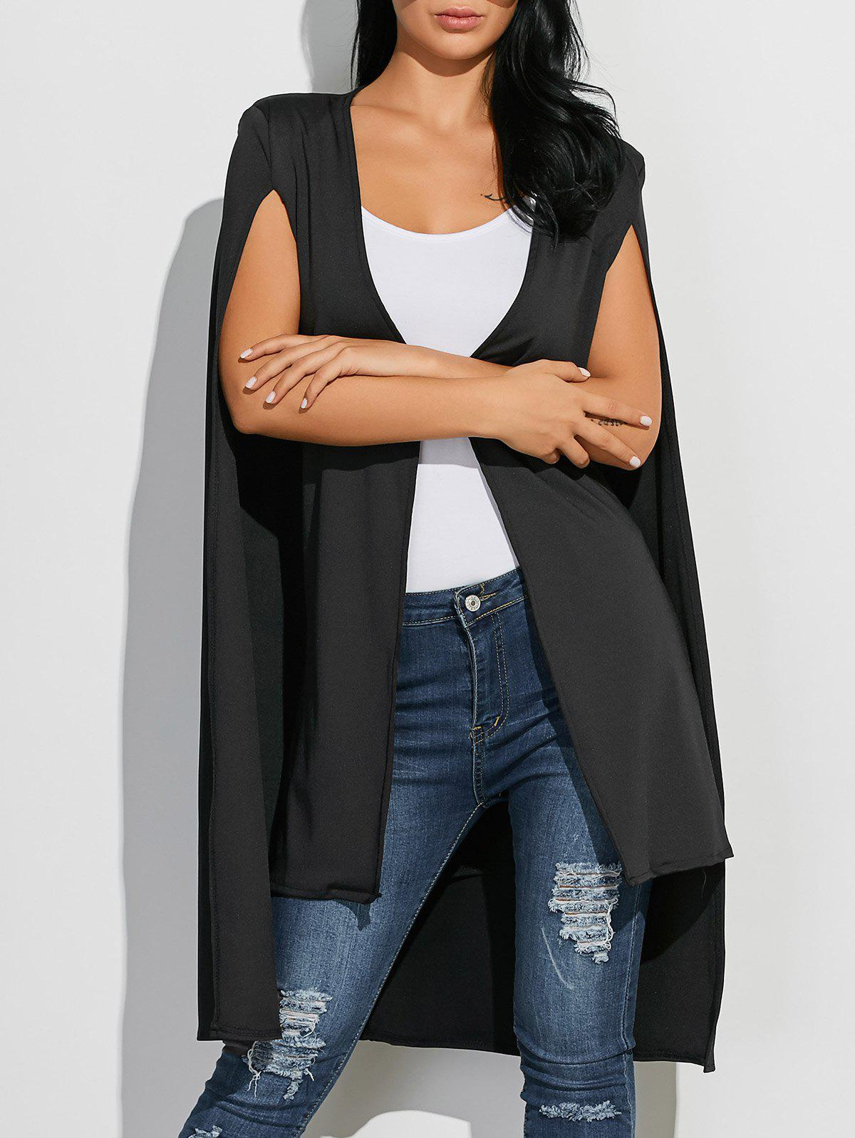 Open Front Loose Cape Coat - BLACK L