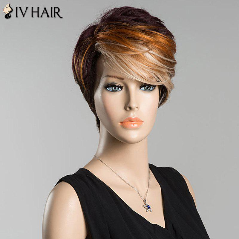 Short Fluffy Side Bang Multicolor Straight Siv Human Hair Wig - COLORMIX