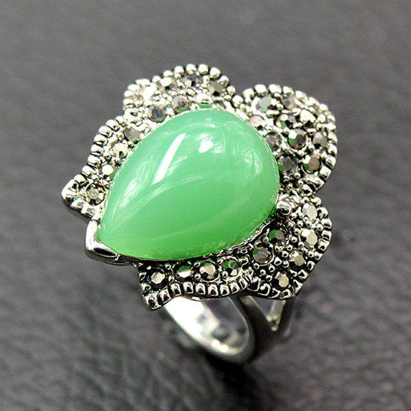 Retro Waterdrop Faux Beryl Ring