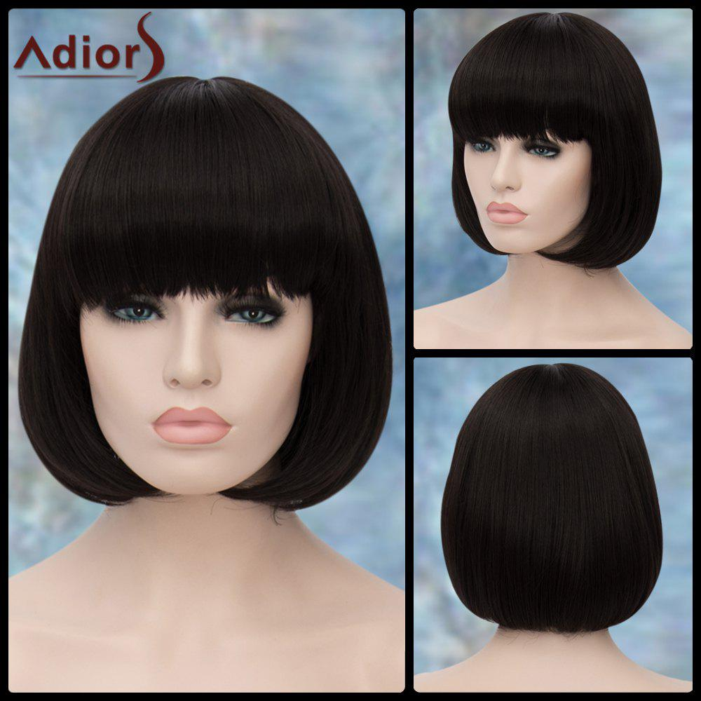 Adiors Straight Short Bob Neat Bang Synthetic WigHair<br><br><br>Color: BLACK