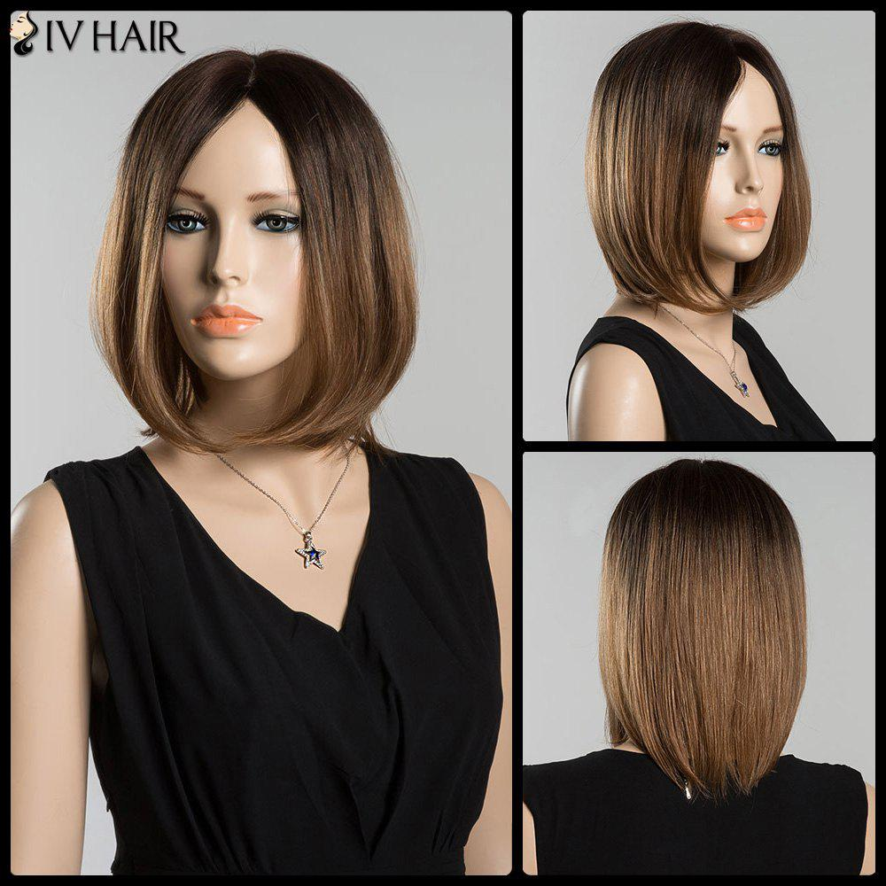 Short Mixed Color Centre Parting Straight Siv Human Hair WigHair<br><br><br>Color: COLORMIX