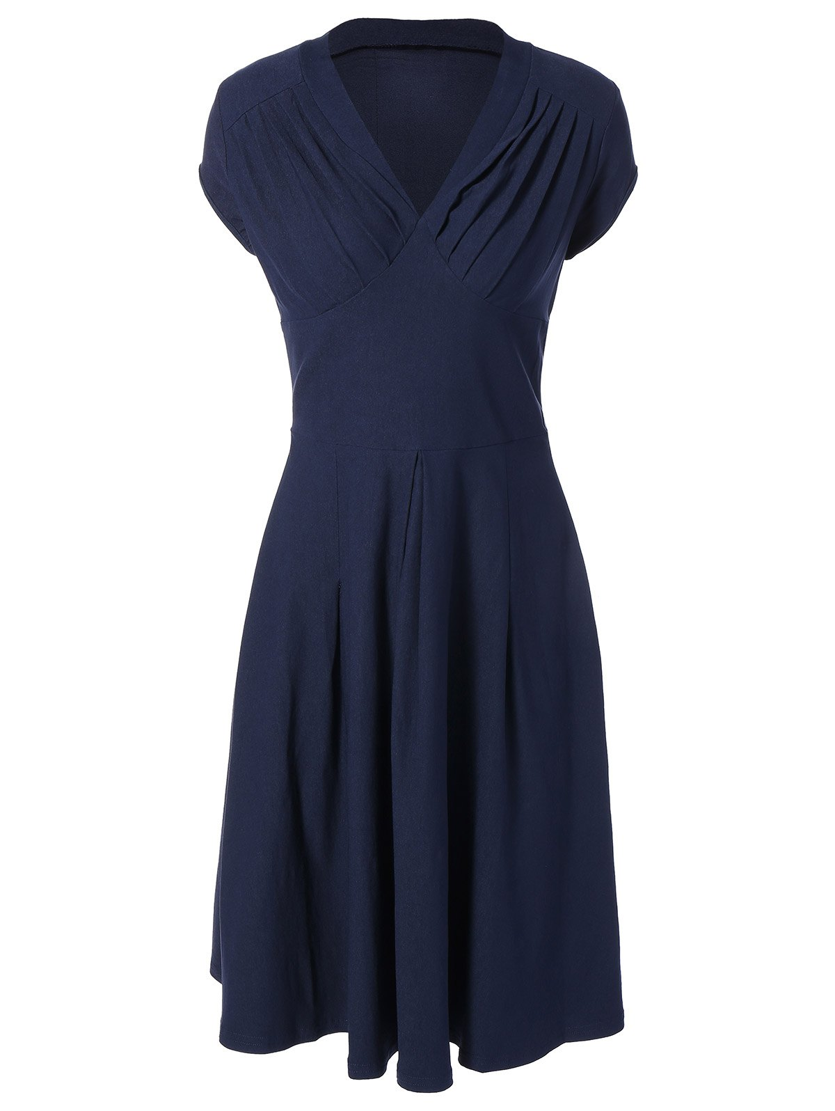 Summer Ruched Chest Swing Dress - PURPLISH BLUE S