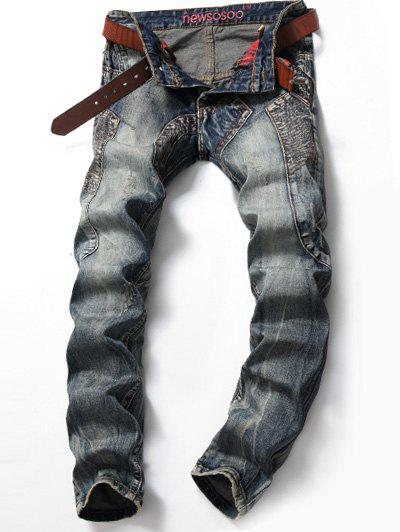 Multi Pocket Scratched Stitching Jeans 200495104