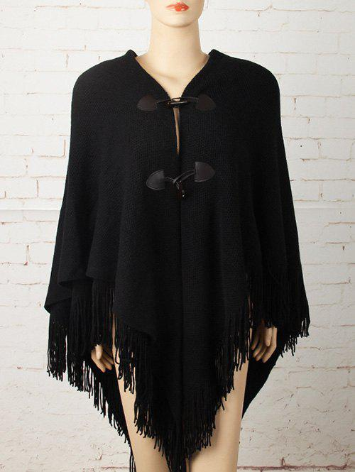 Horn Button Asymmetric Fringed Knit Cape - BLACK ONE SIZE