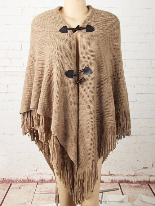 Horn Button Asymmetric Fringed Knit Cape cape horn куртка
