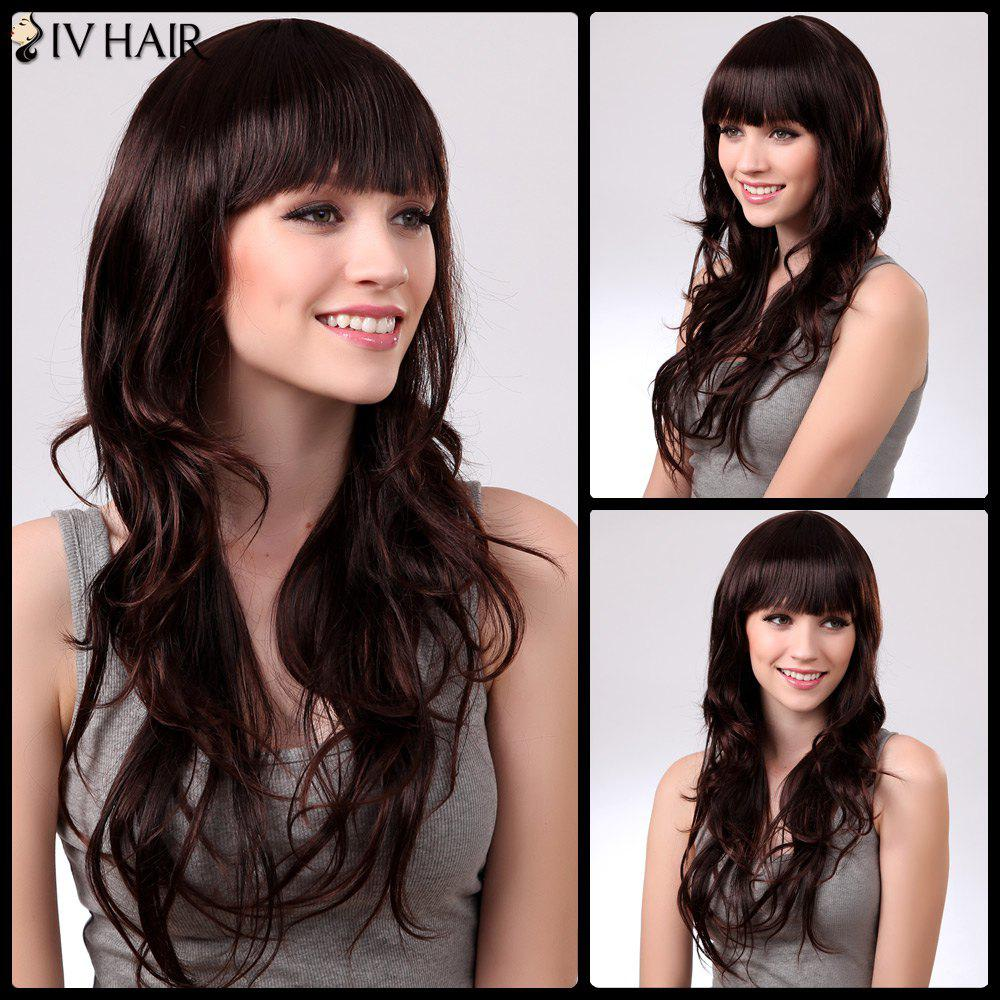Siv Neat Bang Long Fluffy Wavy Human Hair WigHair<br><br><br>Color: RED MIXED BLACK