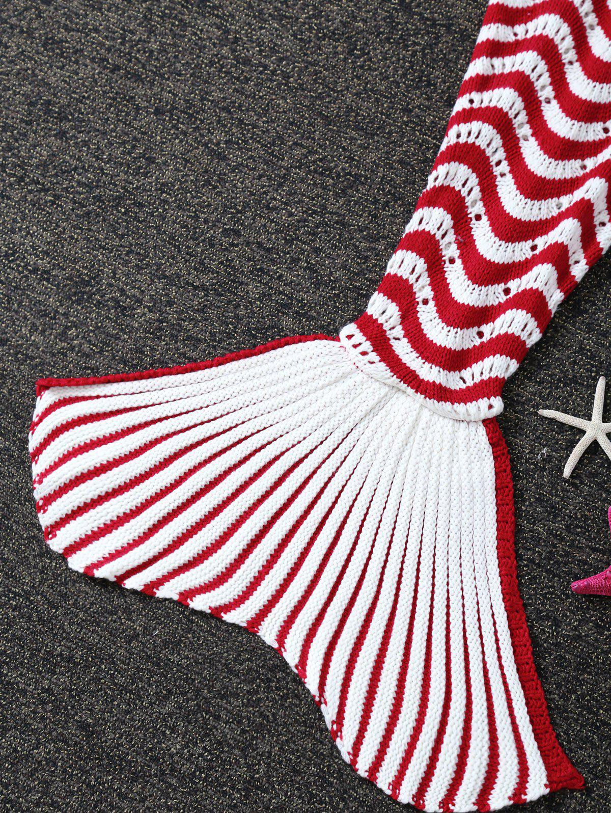 Knitted Color Splicing Striped Mermaid Tail Blanket For Kids - RED/WHITE