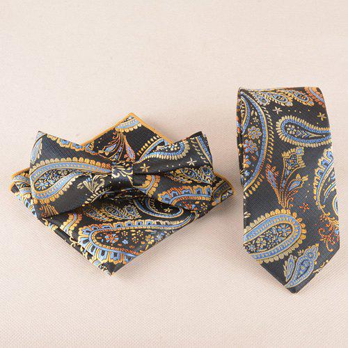Business Suit Classic Cashews Pattern Tie Pocket Square Bow Tie - BLACK
