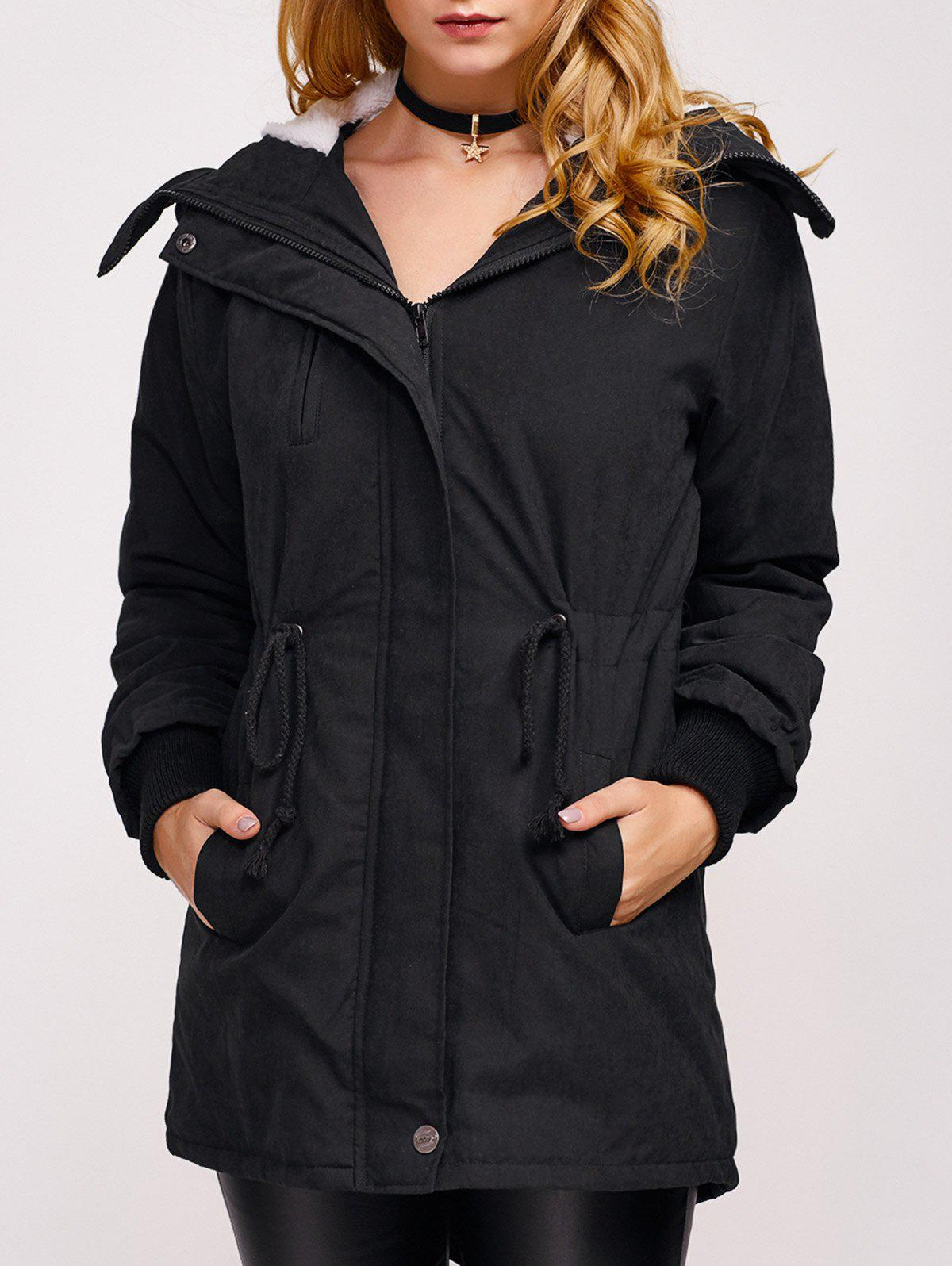 Fleece Hooded Parka Jacket - BLACK S