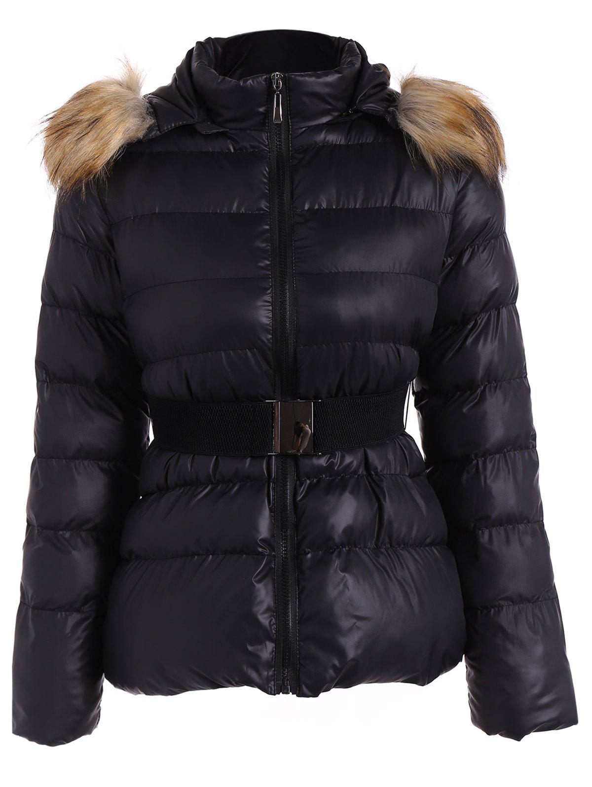 Belted Furry Hooded Puffer Jacket - BLACK M