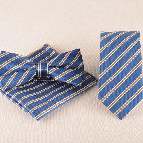 Business Suit Striped Pattern Tie Pocket Square Bow Tie bow tie detail striped blouse