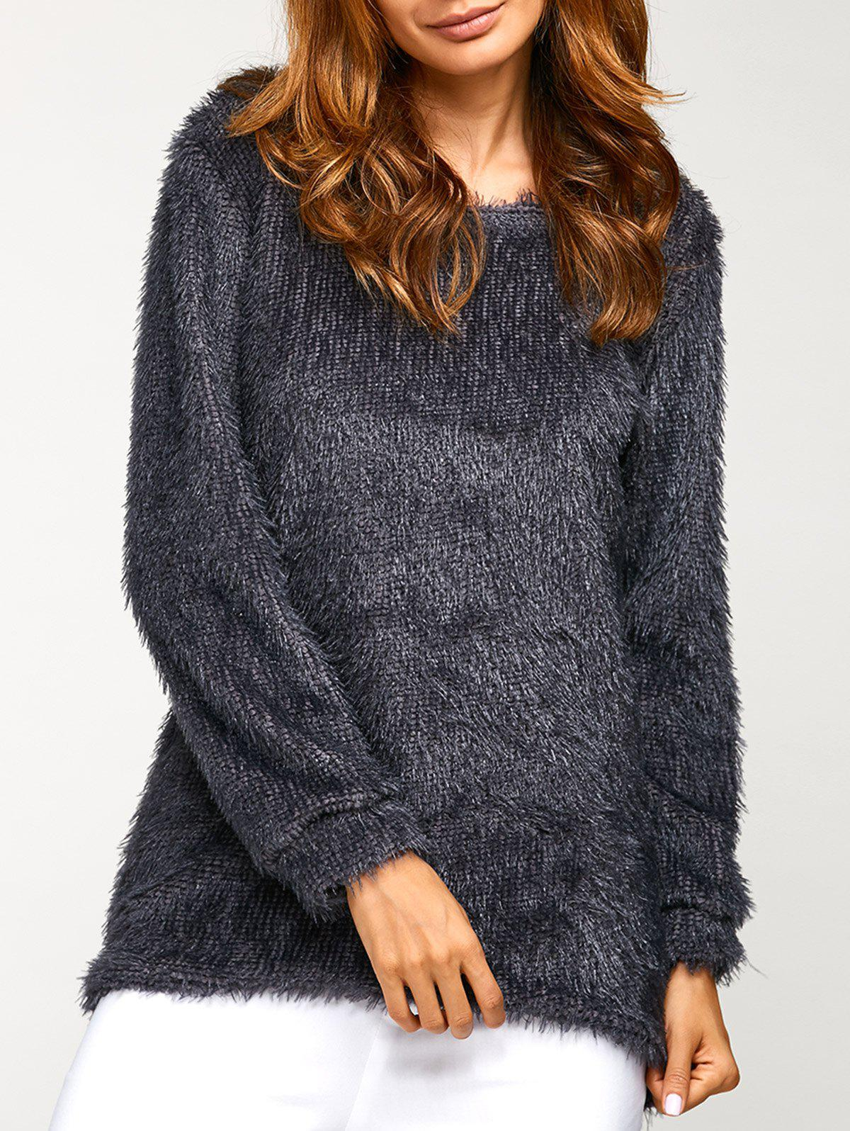 Asymmetric Pullover Mohair Sweater - DEEP GRAY S