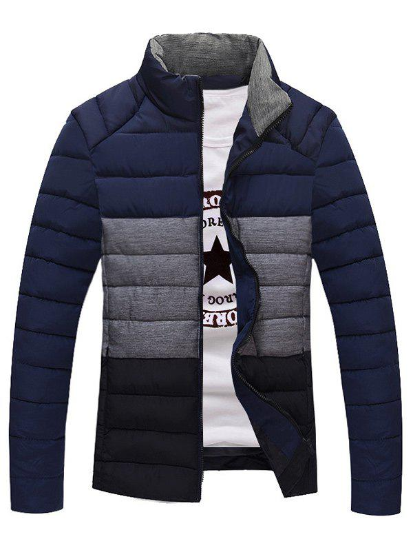 Zip Up Contrast Insert Stand Collar Padded Jacket zip up contrast trim faux fur collar padded jacket