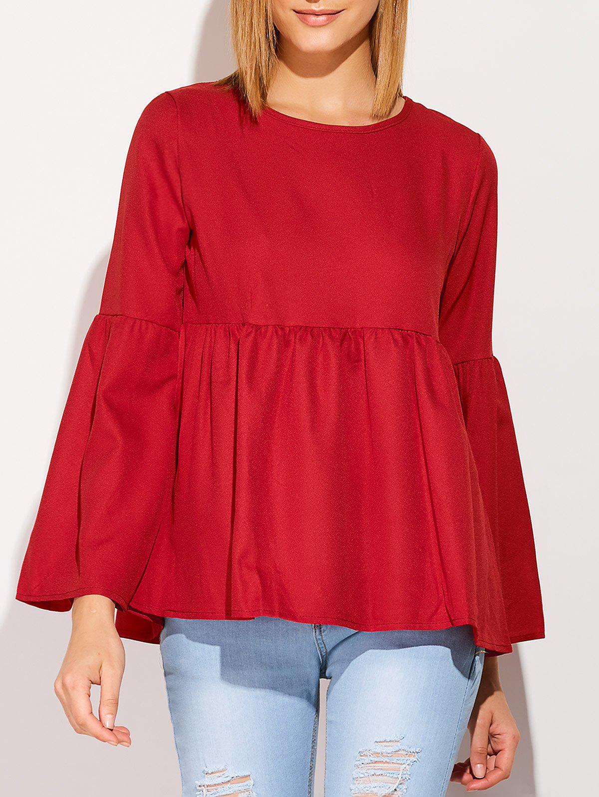 Flare Sleeve Smock T-Shirt - WINE RED L