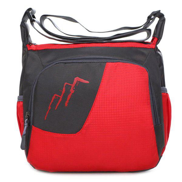 Nylon Color Block Crossbody BagBags<br><br><br>Color: RED