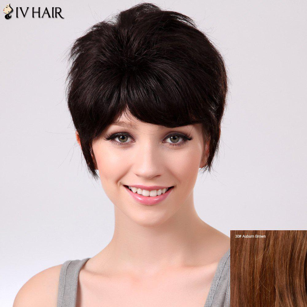 Siv Straight Fluffy Short Inclined Bang Human Hair Wig - AUBURN BROWN