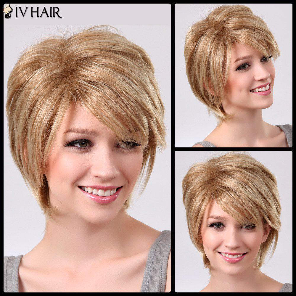 Siv Short Oblique Bang Straight Fluffy Human Hair Wig - BROWN/BLONDE