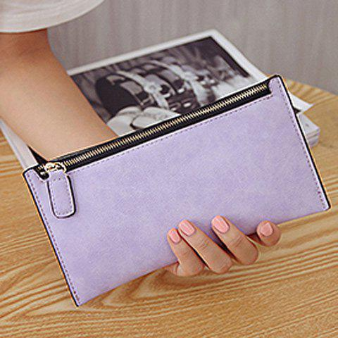 Faux Leather Zip Up Coin Purse - LIGHT PURPLE