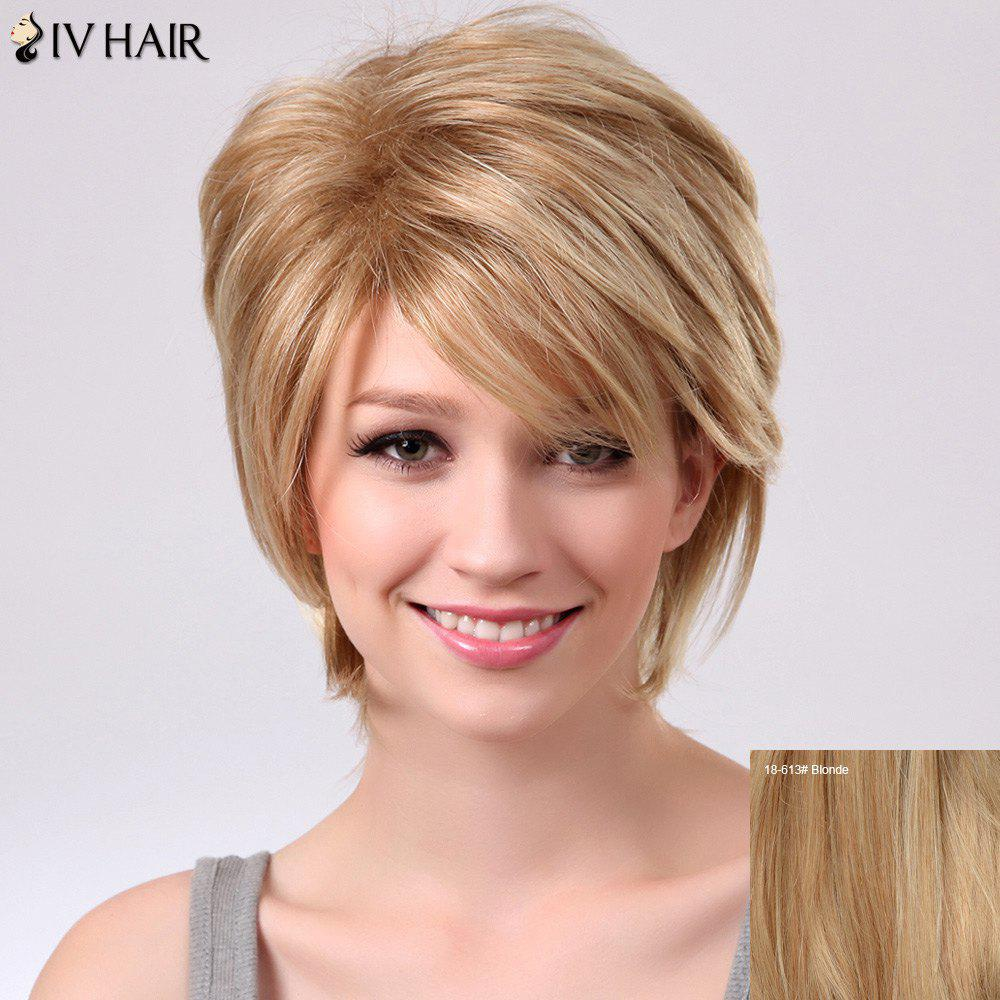 Siv Short Oblique Bang Straight Fluffy Human Hair Wig - BLONDE