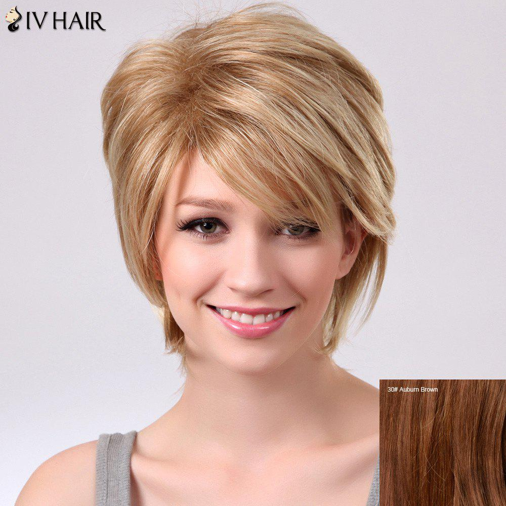 Siv Short Oblique Bang Straight Fluffy Human Hair Wig fluffy straight synthetic siv hair vogue side bang short women s human hair wig