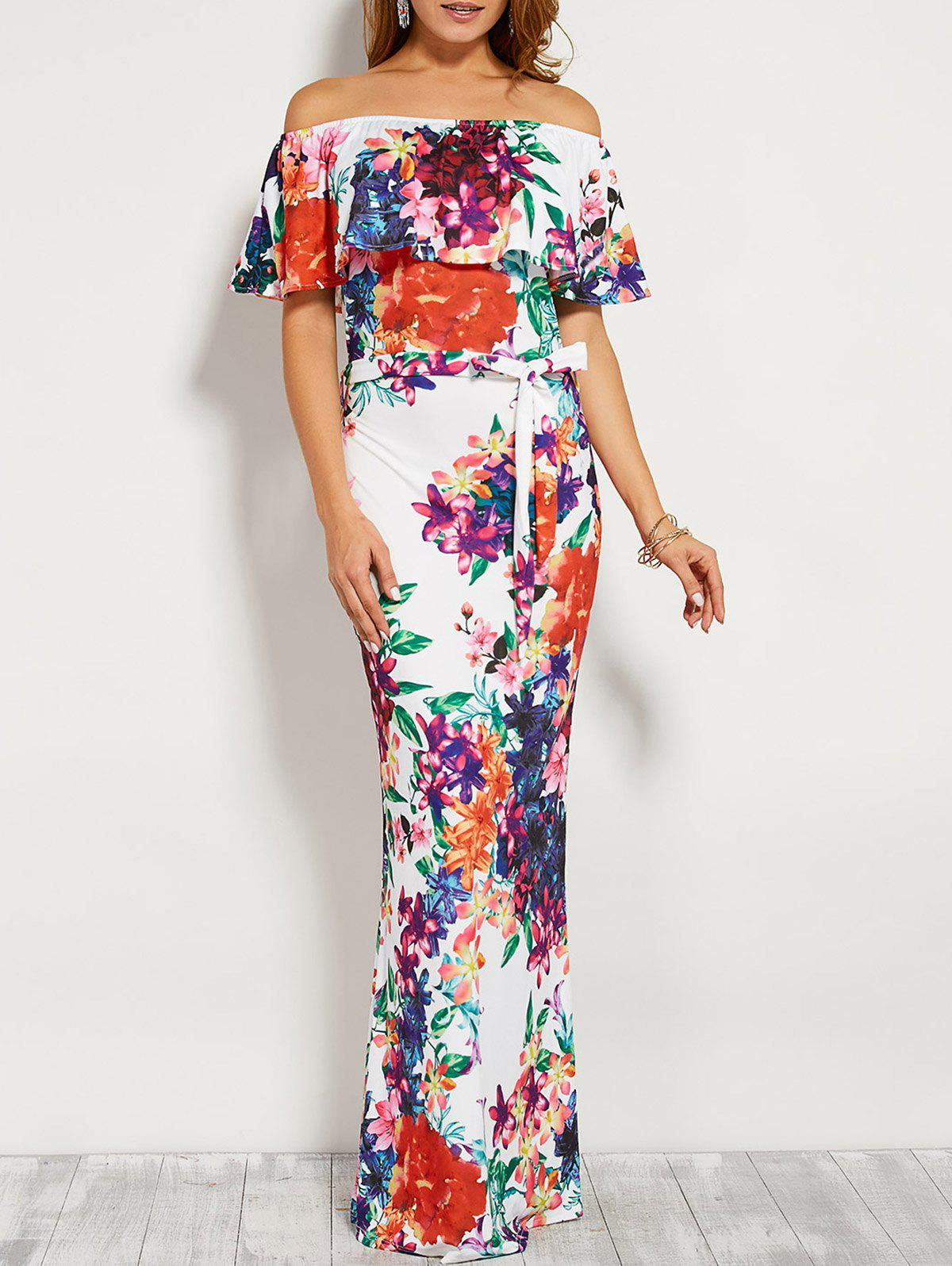 Floral Flounce Off The Shoulder Long Maxi Dress - WHITE S