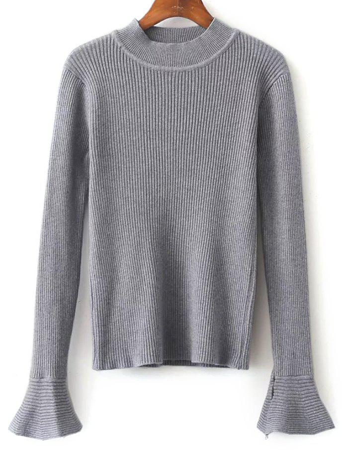 High Neck Flare Sleeve Stretchy Knitwear - GRAY ONE SIZE