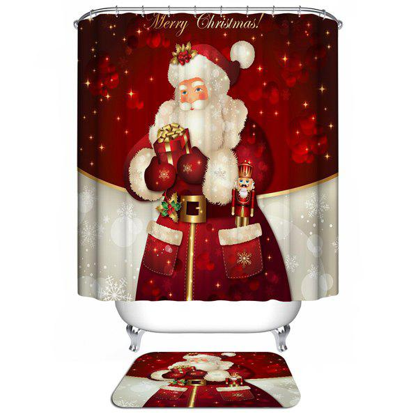 Santa Claus Printed Christmas Waterproof Shower Curtain santa claus printed throw pillow case