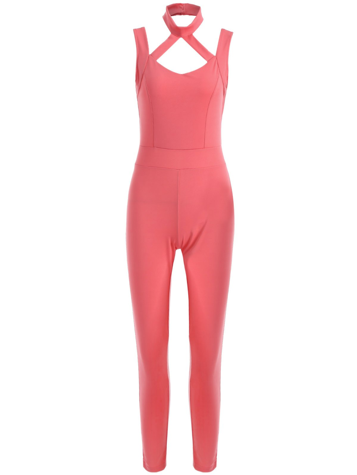Sleeveless Hollow Out Backless Fitted Jumpsuit