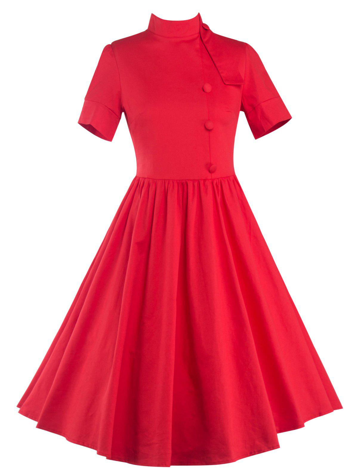 High Waisted Buttoned Flare Dress - RED S