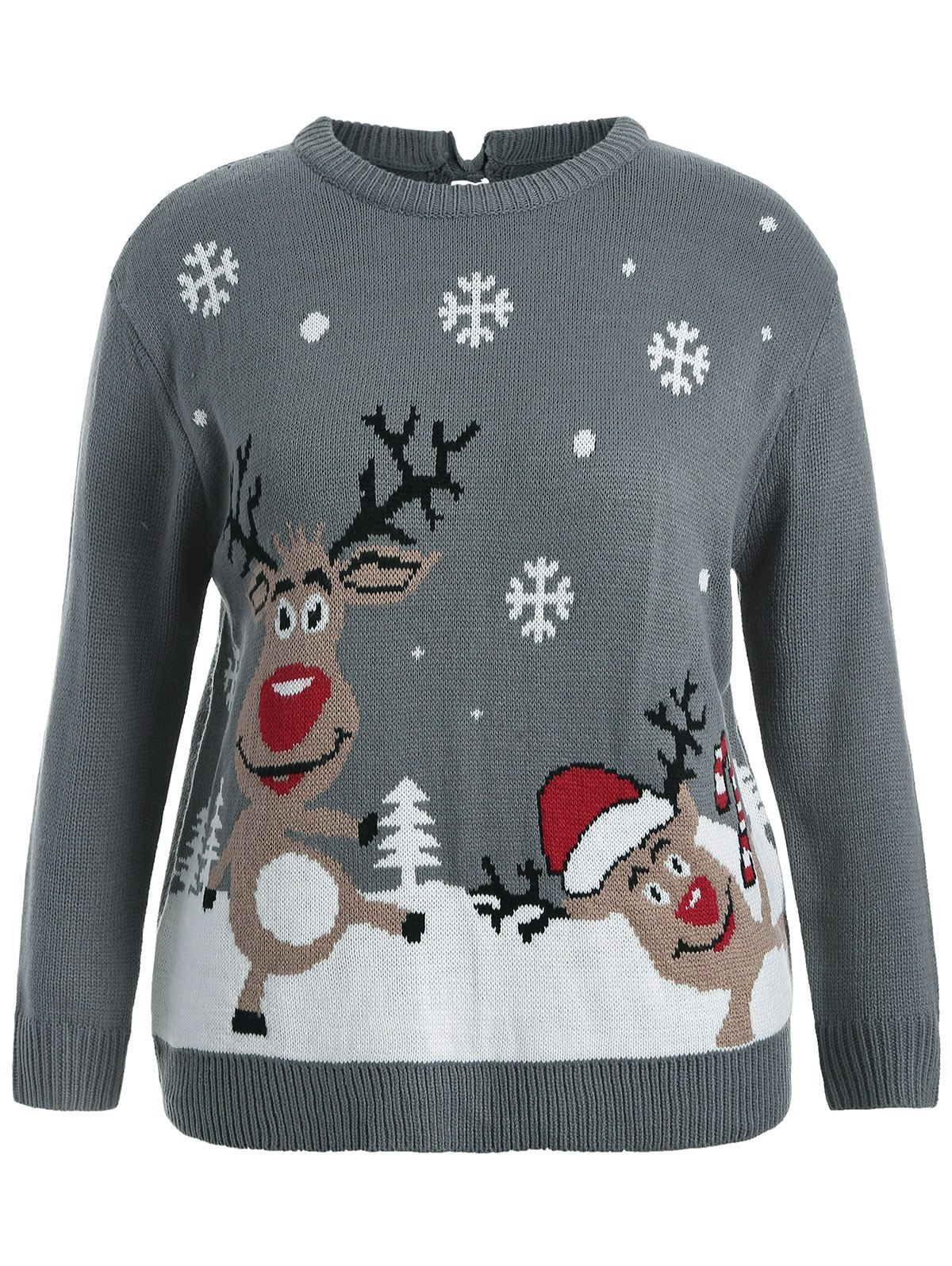 Back Bowknot Snowflake Cartoon Pattern Christmas Sweater christmas pullover sweater with cartoon ornamentation pattern
