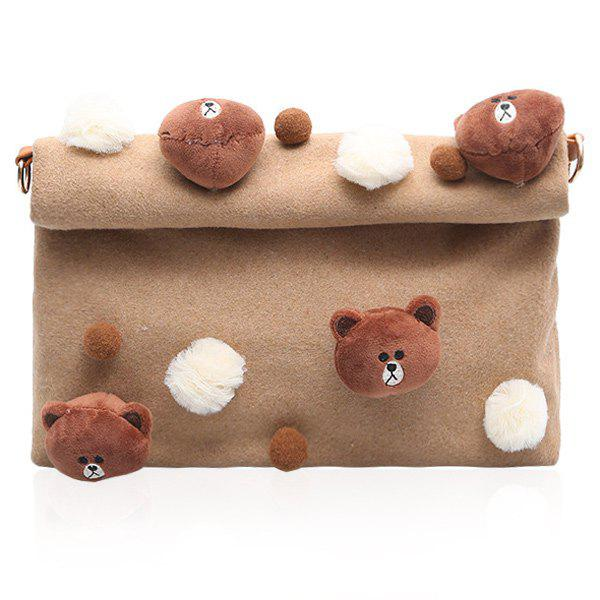 Pompon Magnetic Closure Animal Dolls Crossbody Bag - BROWN