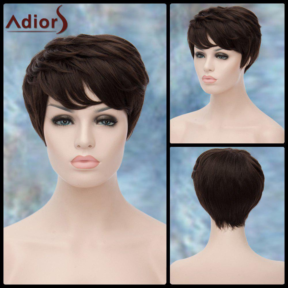 Adiors Short Layered Straight Inclined Bang Synthetic Wig short pixie cut capless straight inclined bang synthetic wig