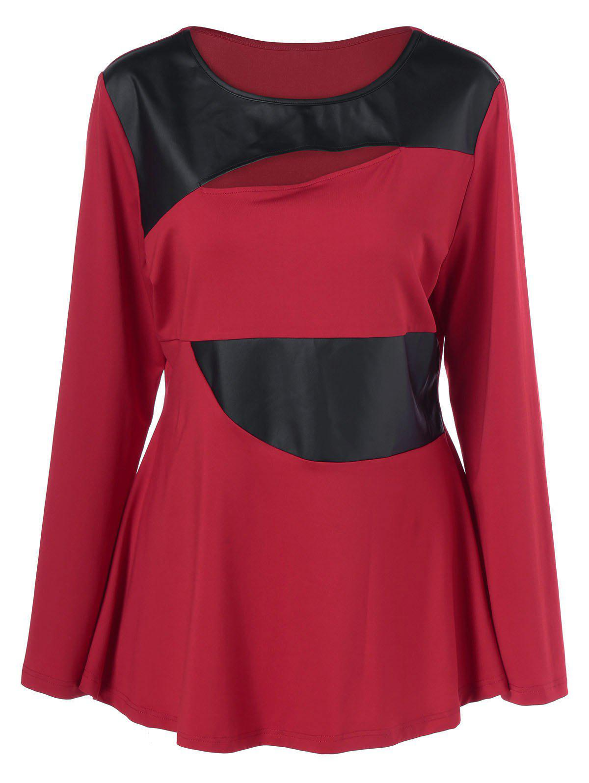 Plus Size Faux Leather Patchwork Peplum Pullover - RED/BLACK XL