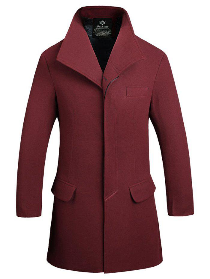 Flap Pocket Button Up Wool Mix Coat - WINE RED L