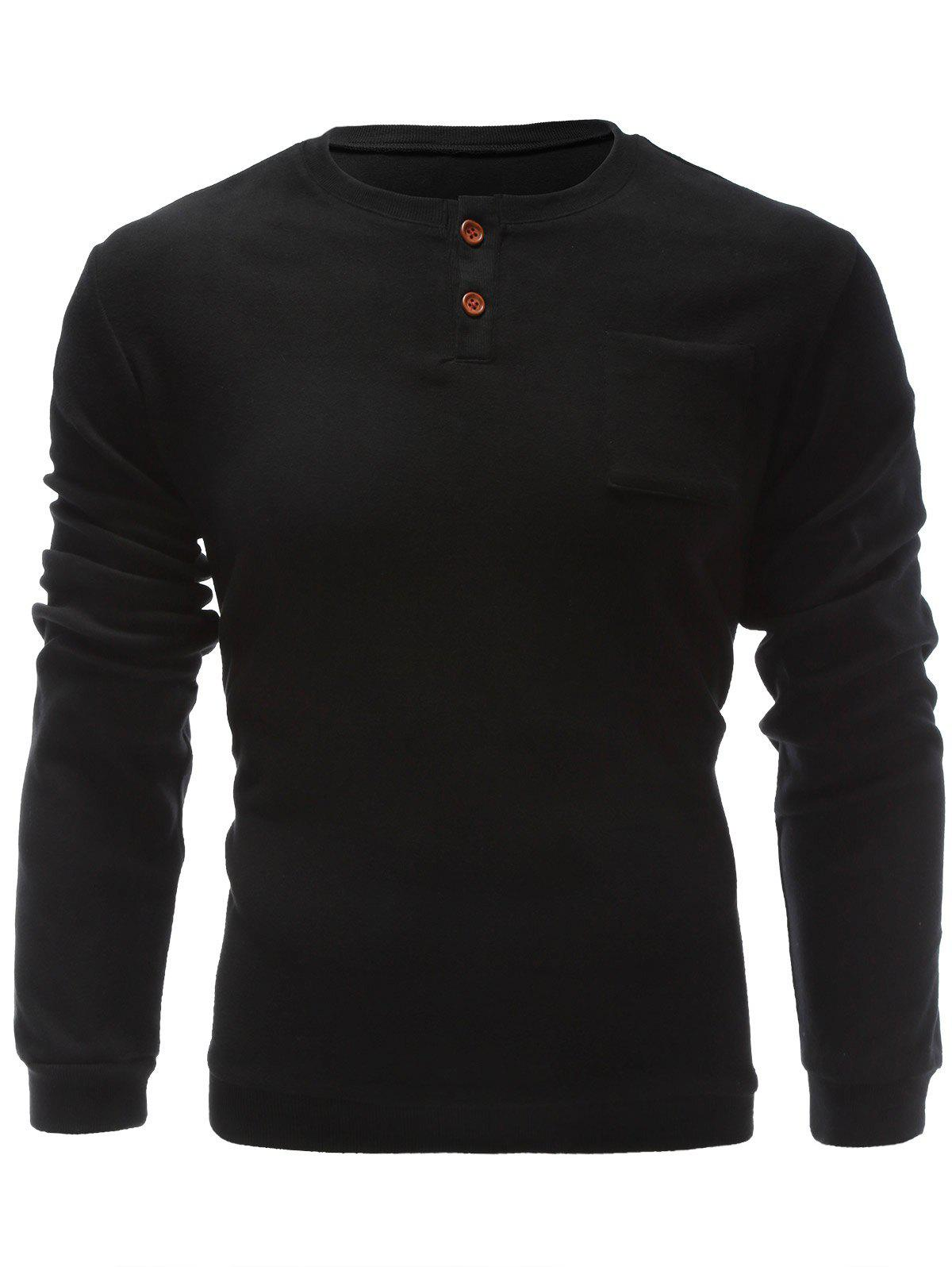 Pullover One Pocket Single Breasted SweatshirtMen<br><br><br>Size: XL<br>Color: BLACK