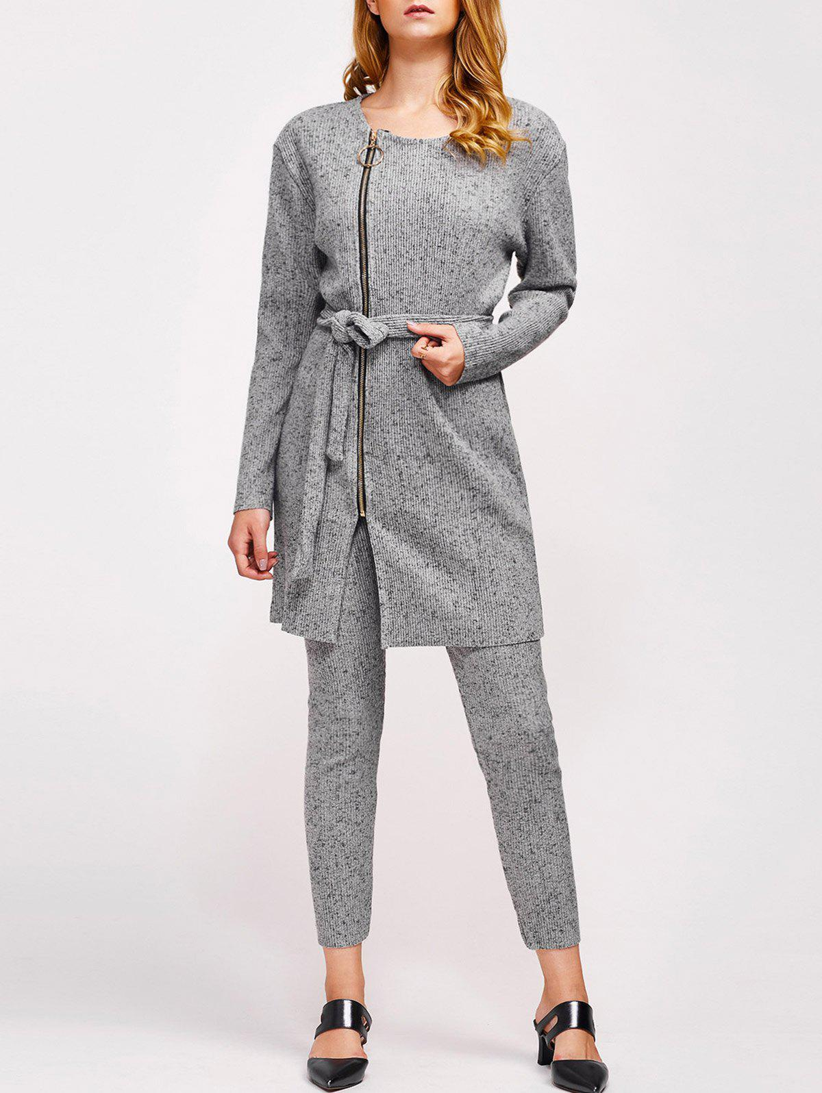 Ribbed Ninth Pants and Belted Zipper CoatWomen<br><br><br>Size: L<br>Color: GRAY