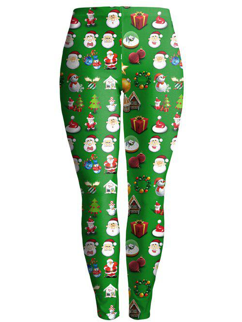 Christmas Gift Print Ankle Leggings colorful print bodycon christmas leggings