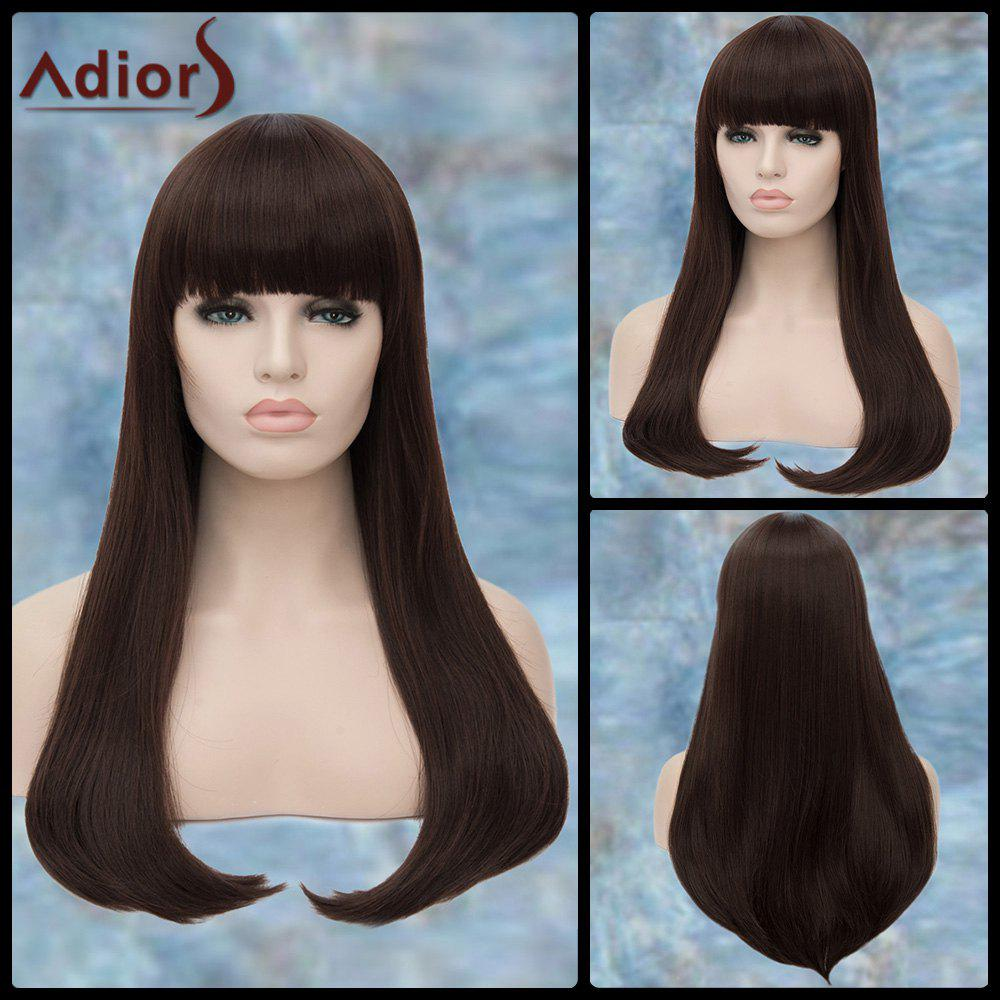 Adiors Long Straight Full Bang Tail Adduction Synthetic WigHair<br><br><br>Color: DEEP BROWN