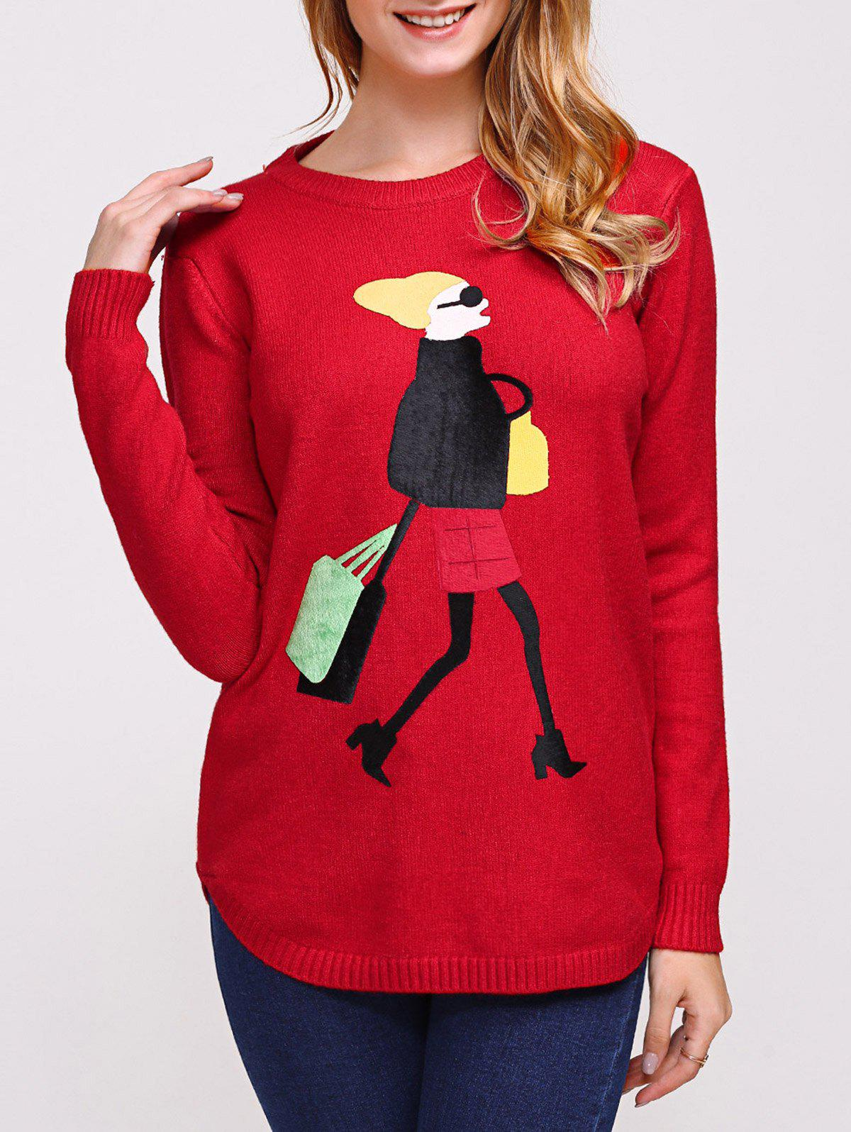 College Style Cool Girl Jacquard Knitwear - RED ONE SIZE