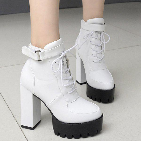 Platform Chunky Heel PU Leather Ankle Boots - WHITE 40