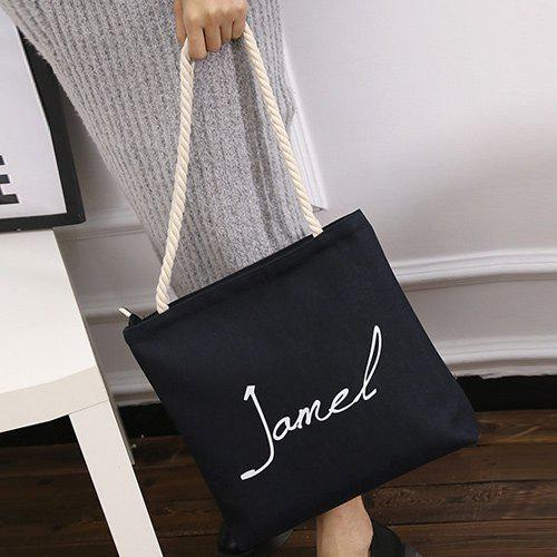 Hemp Rope Letter Print Canvas Shoulder Bag
