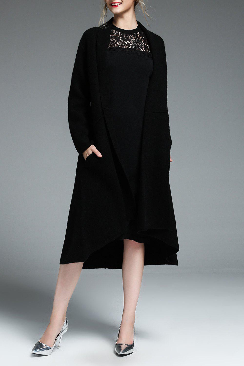 Wool Blend Asymmetric Swing Coat - BLACK M